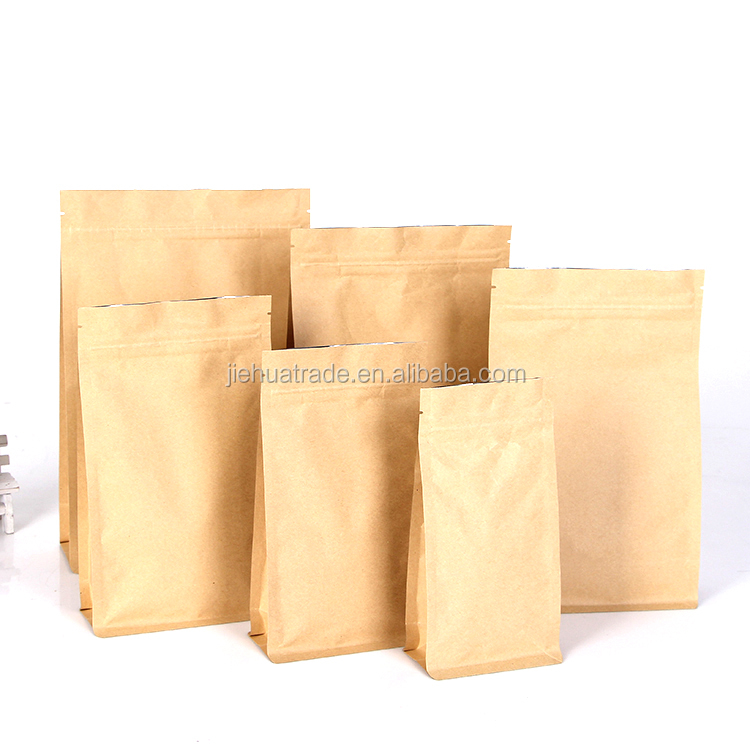 Flat Bottom Bags with Zipper Eight Side Sealed Kraft Paper Bags for food bag packaging design