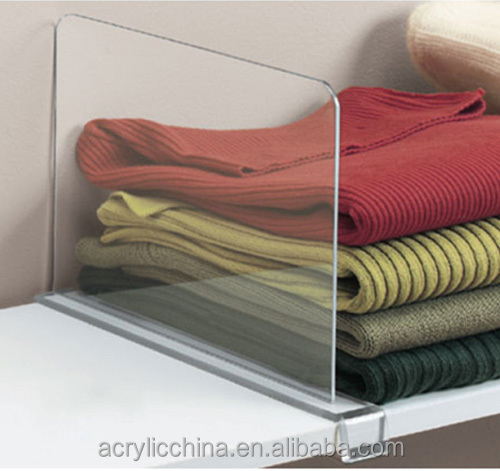 Clear acrylic shelf divider,display racks high transparency acrylic shelf divider/acrylic stand