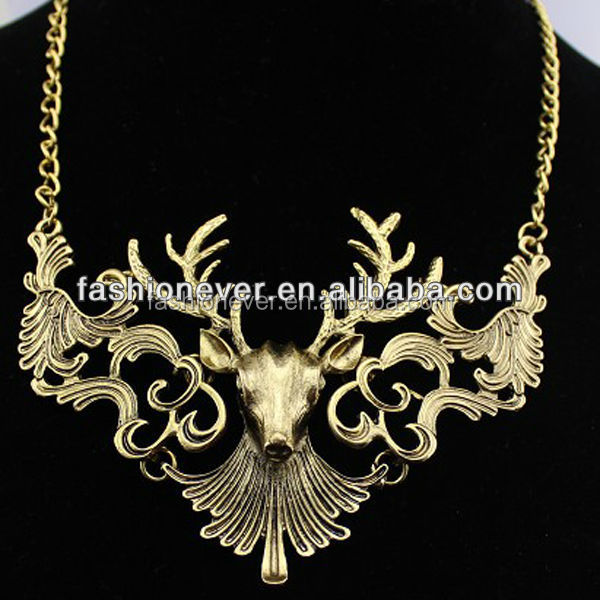 New Women Luxury Vintage Deer Head Pendant Bib Statement Necklace