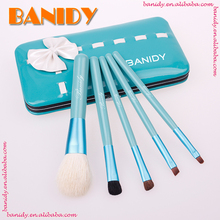 Cute,lovely deisgn pu leather bag 5pcs mini travel carry cosmetic makeup brush set