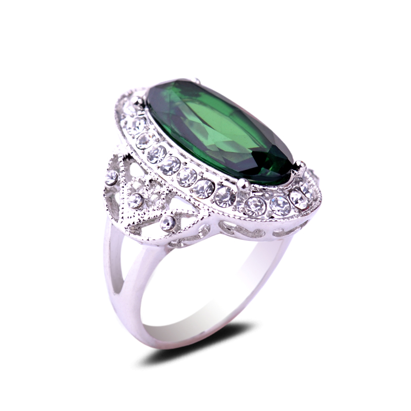 Luxurious Big Green Zircon Stone Prong Setting Engagement Rings Czech Drilling Crystal Finger Ornaments Accessory For Lady