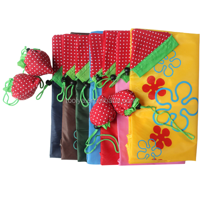 Customised Reusable Bags Polyester Shopping Bags Strawberry Bags