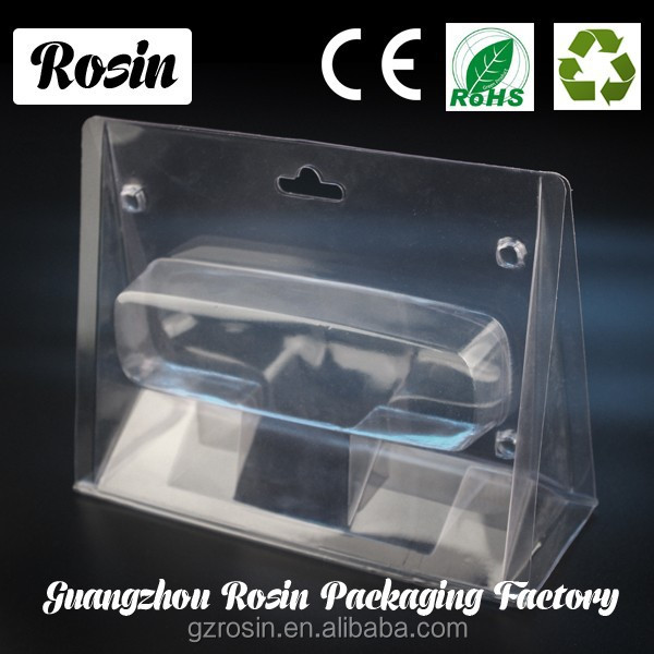 Customized thinner plastic hanging retail clamshell packaging