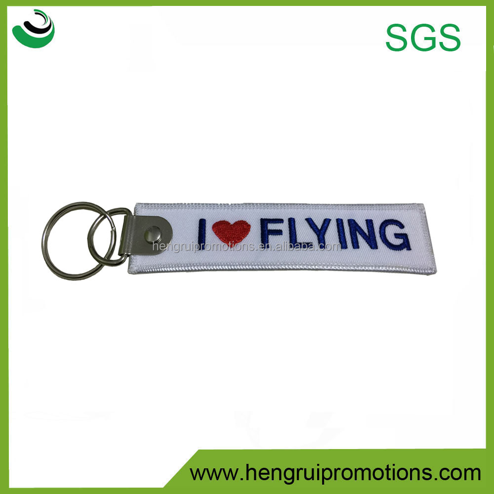 High quality custom double logo design fabric embroidery keychain for air plane