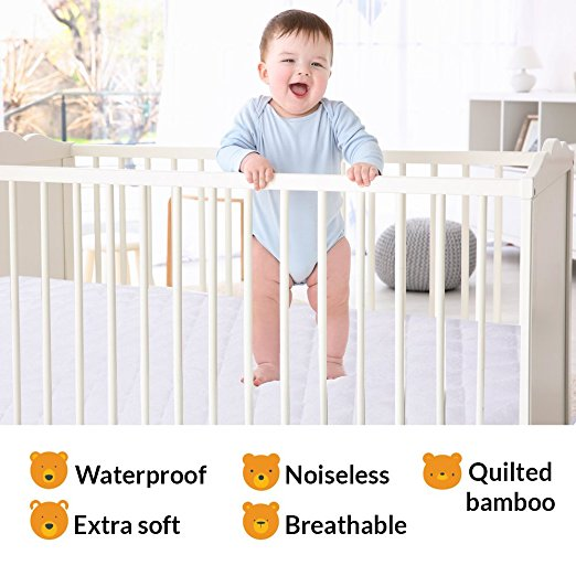 Bamboo Quilted Ultra Soft Terry Vinyl Free Crib Mattress Protector - Jozy Mattress | Jozy.net
