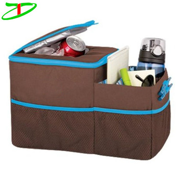 Brown/blue foldable auto front seat organiser travel insulated car cooler bag organizer