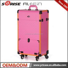 Professional trolley rolling bling beauty cosmetics display makeup case with lighted mirror legs