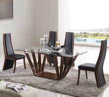 Tempered Glass Top Dining Room Furniture Table and Chair Dining Table Set Wood Base