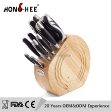 10Pcs stainless steel Japanese knife set with scissors & sharpener Steel in circular rubber wood knife block