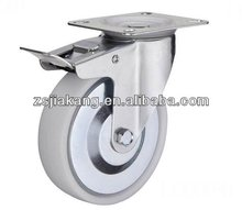 white pp wheel caster industrial caster rigid or swivel or swivel with double lock plate top