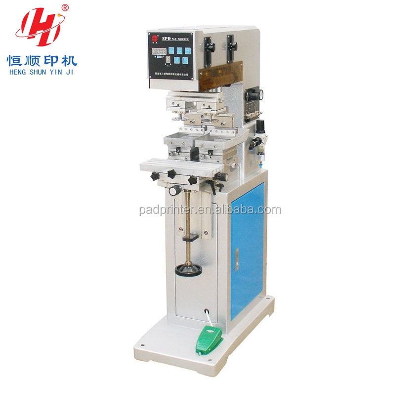 Fujian Henshung Brand One Color 2 Heads with Open Ink Tray SPD2045C Easy Pad Printing Machines China