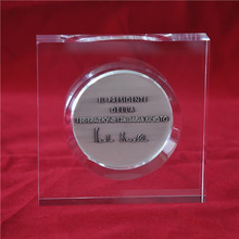 custom made acrylic coin paperweight