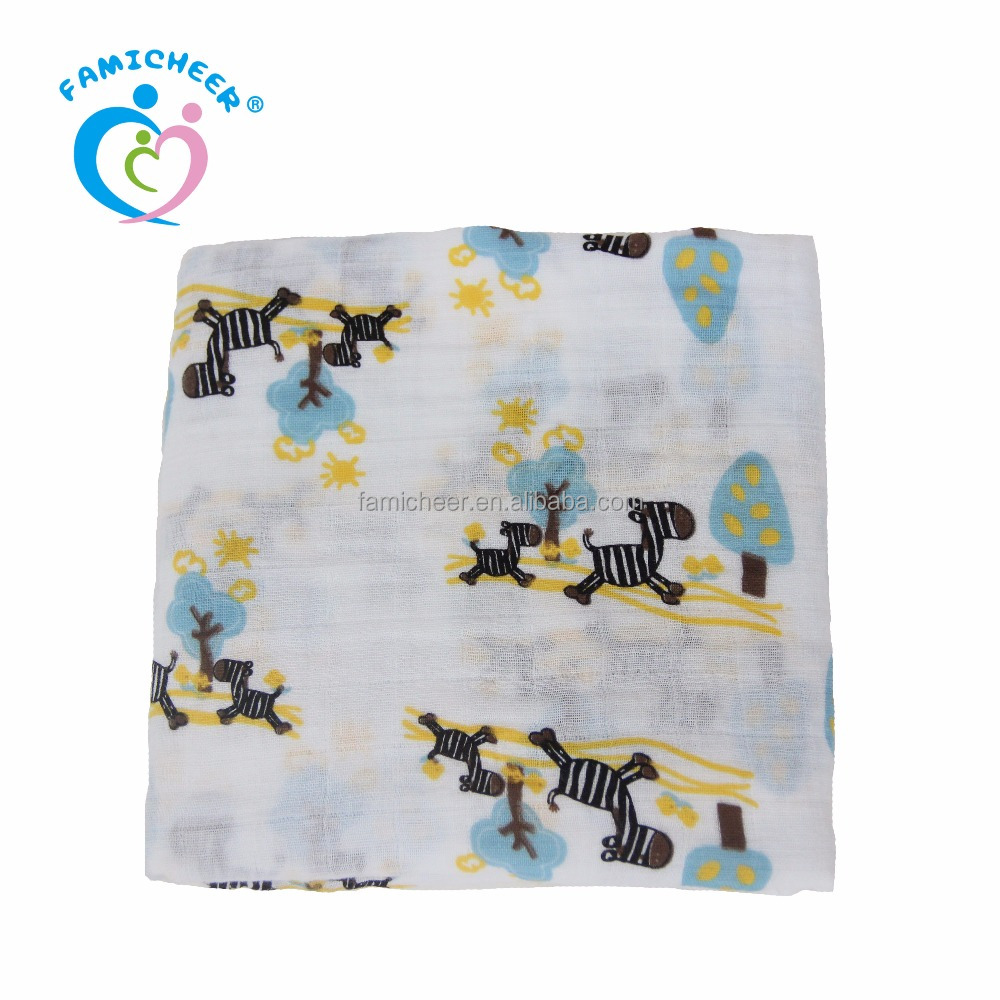 "47""x47"" Organic Bamboo Cotton Muslin Baby Swaddles Multi-use Blankets"