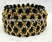 New fashion 100%handmade 5 rows single chain stretch crystal bracelet black color
