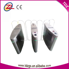 Retractable turnstile sliding barrier gate with fingerprint time attendance