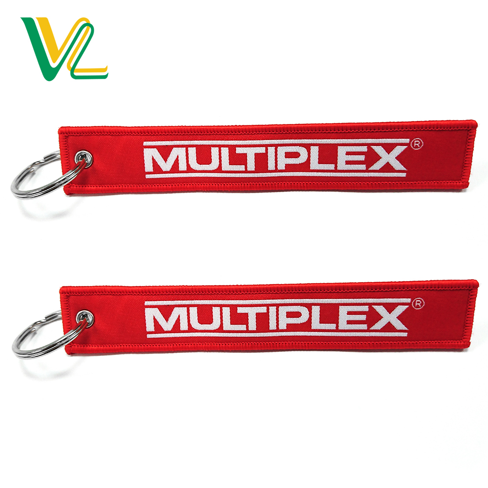 Manufacturer Brand name spandex all printing Red White Thin Ring your own logo long length style Lovers fabric key chain
