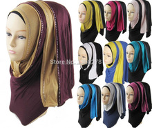 muslim jersey scarf hijabs and shawls two tone scarf rhinestone jersey hijab,can choose colors JLS101