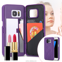 Luxury Hard Makeup Mirror Flip Phone Case Capa For iPhone 7 7 Plus 6 6S Plus For Samsung Galaxy S7 S7 Edge Card Holder Cover