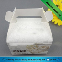 small cute printed white cardboard 2-pack cupcake packing box with handle