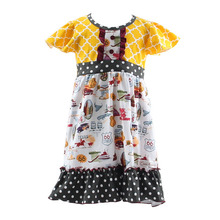 2017 spring summer new model puff sleeve new print fabric baby girls kids fashion cheap Fancy Dress Competition For Kids