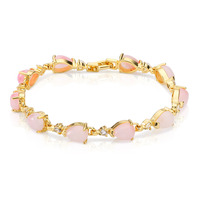 New coming item wholesale women 's 14k gold plated pink stone bracelets