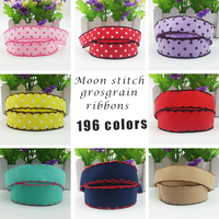 Moon stitched grosgrain ribbons, crocheted edged printed grosgrain ribbons