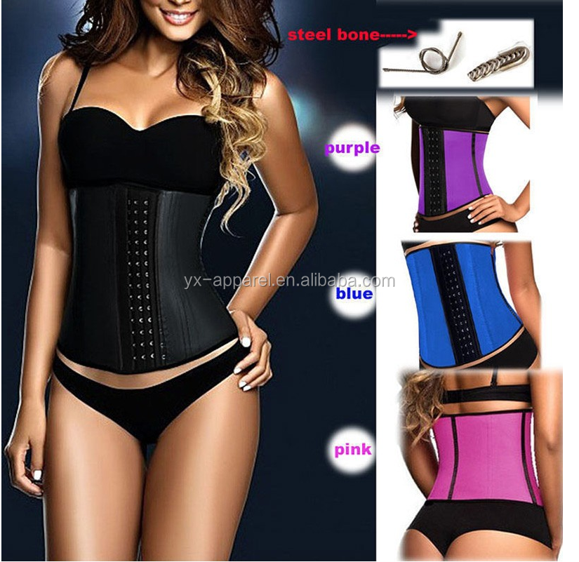 2016 hot sale colombia body shaper latex waist trainer nude color zip clip latex corset