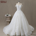 SL-66 Luxurious Wedding Dress Off Shoulder Beading Pearls Flower Tulle Wedding Gown Bridal 2017