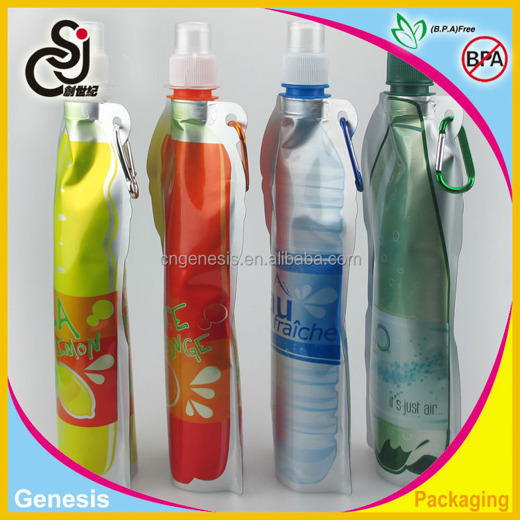 hot sale advertising plastic foldable water bottle/soft water bottle with Aluminum foil