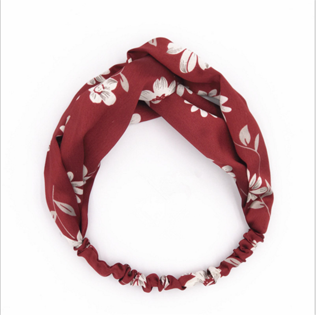 Korea's sweet fabric printing flowers head band and girl wide elastic hair band