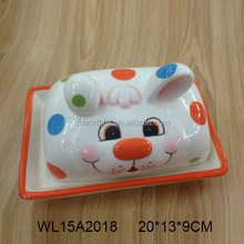 Hand painted ceramic butter dish with rabbit design for tableware