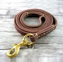 Handmade Band 1.5cm Cow Leather Pet Dog Leash Training Lead for Medium and Large Dogs