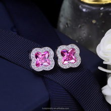 4 Color options cute four leaf clover design cubic zirconia earrings women stud earrings for girls gifts ERL080