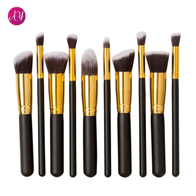 Aoyue Professional 10 PCS Kabuki Cosmetic Facial Make up Brush Kit