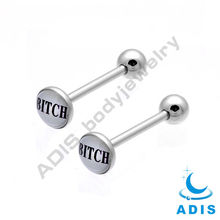 316L surgical steel Tongue Barbell ring epoxy covered Disk tongue piercings