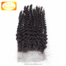 no shedding no tangle 4 by 4 natural color deep curly brazilian human hair lace front closure