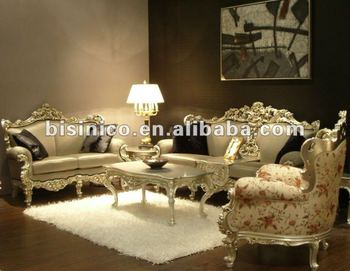 Luxury silver plated European stylel wooden living room furniture-sofa set,MOQ:1SET(B10337)