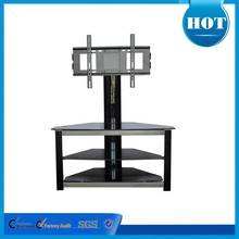 2015 tempered glass tv stand lcd tv table model with metal frame RA009