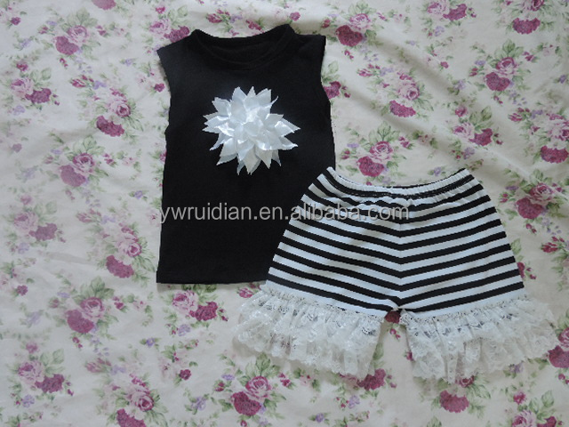 2016 latest designs wholesale baby clothes low price summer baby clothing set boutique sleeveless flower girls sets fashion wear