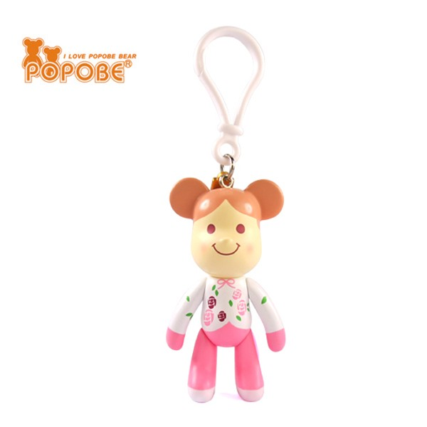 Cute Little Girl Figure Painted Product Customized Logo Movable Keychain