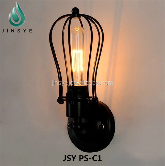 black bronze metal cage loft vintage wall lamp industrial wall light