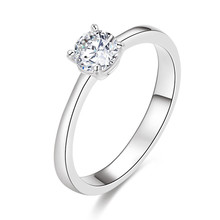 High quality 925 sterling silver 3a cubic zirconia diamond engagement wedding ring
