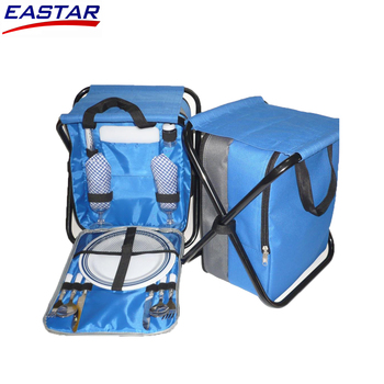 Portable insulated fish cooler bag Folding picnic backpack for 4