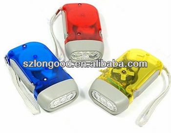 Hand Crank All-Purpose LED Flashlight w' Squeeze Powered Recharge RED