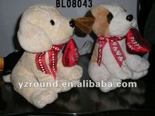 sitting dog with red butterfly soft plush dog