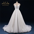 ASWY22 Real Sample robe de mariage Vintage Luxury V neckline Shiny Ball Gown Wedding Dress Bridal Gown