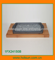 Hotel dinnerware red stone grill with bamboo tray 1FX24150B