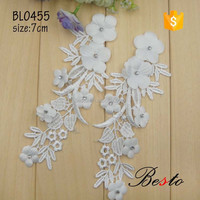 Fashion Embroidery Flower Cotton White Lace