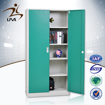 Customized folding 2 door 4 shelves office steel cupboard