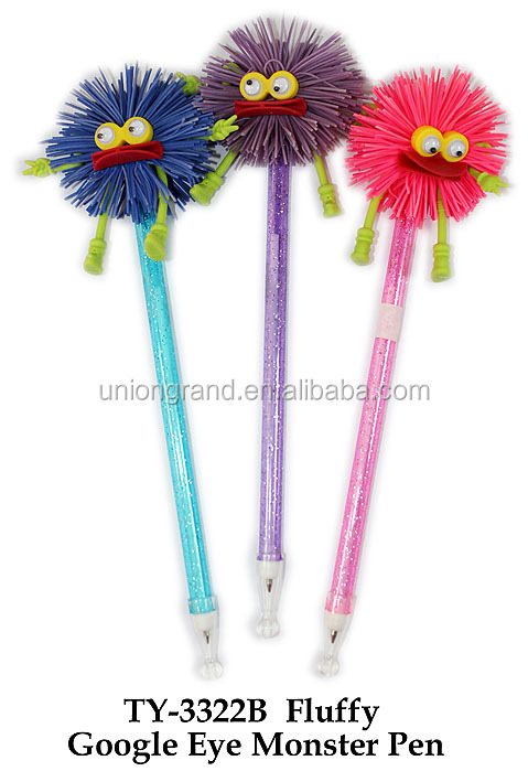 Pop Fluffy Google Eye Monster Plastic Pen